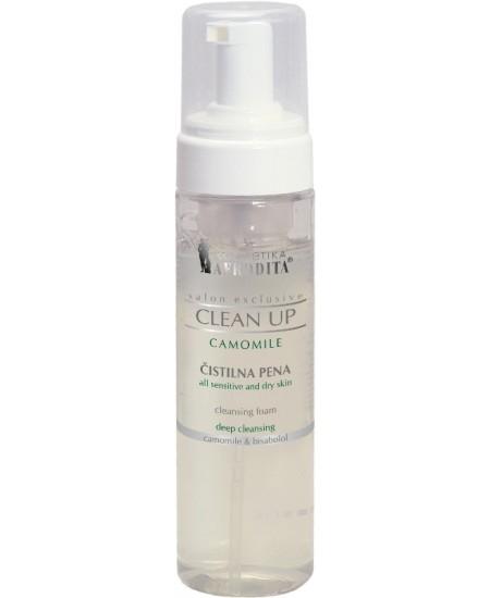 CLEAN UP CAMOMILE Spuma de curatare pentru tenurile sensibile, flacon cu dispenser de spuma 200 mL