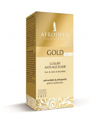 GOLD 24K LUXURY ELIXIR anti-age pentru fata, gat, decolteu. Fara parabeni, parafina, silicon. Flacon airless 30 ml