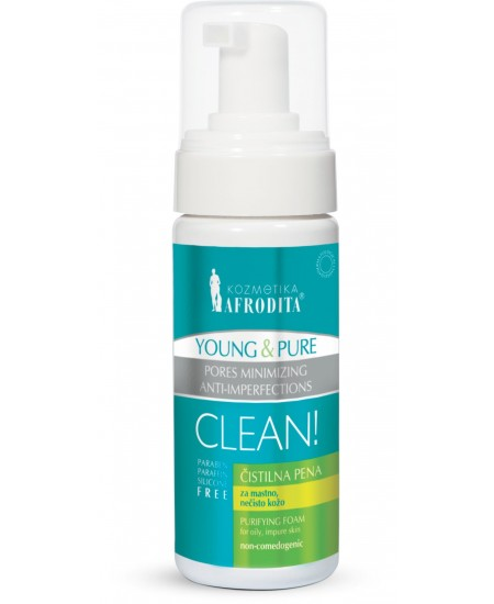 YOUNG & PURE Spuma de curatare - pt ten gras, acneic. Flacon cu dispenser 150 ml